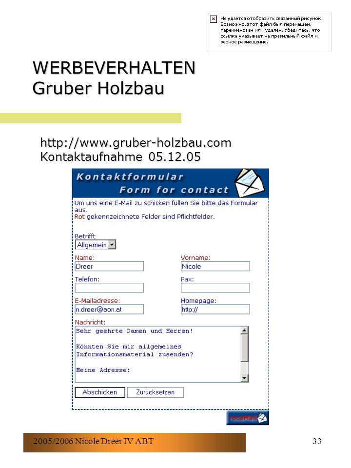 2005/2006 Nicole Dreer IV ABT33 WERBEVERHALTEN Gruber Holzbau http://www.gruber-holzbau.com Kontaktaufnahme 05.12.05
