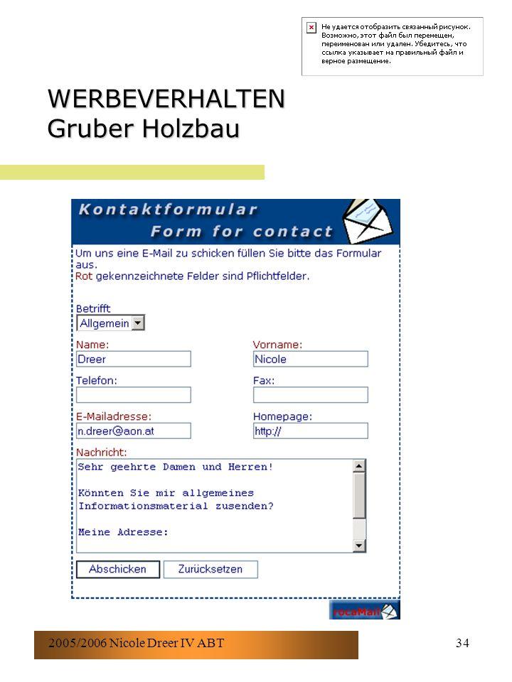2005/2006 Nicole Dreer IV ABT34 WERBEVERHALTEN Gruber Holzbau