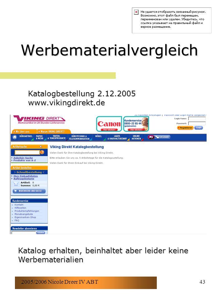 2005/2006 Nicole Dreer IV ABT43 Werbematerialvergleich Katalogbestellung 2.12.2005 www.vikingdirekt.de Katalog erhalten, beinhaltet aber leider keine Werbematerialien