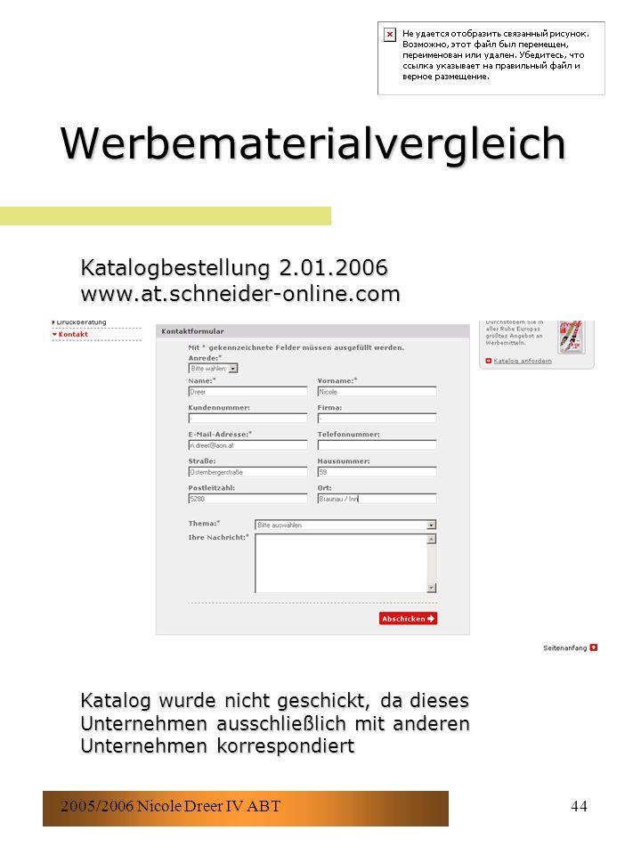 2005/2006 Nicole Dreer IV ABT44 Werbematerialvergleich Katalogbestellung 2.01.2006 www.at.schneider-online.com Katalog wurde nicht geschickt, da dieses Unternehmen ausschließlich mit anderen Unternehmen korrespondiert