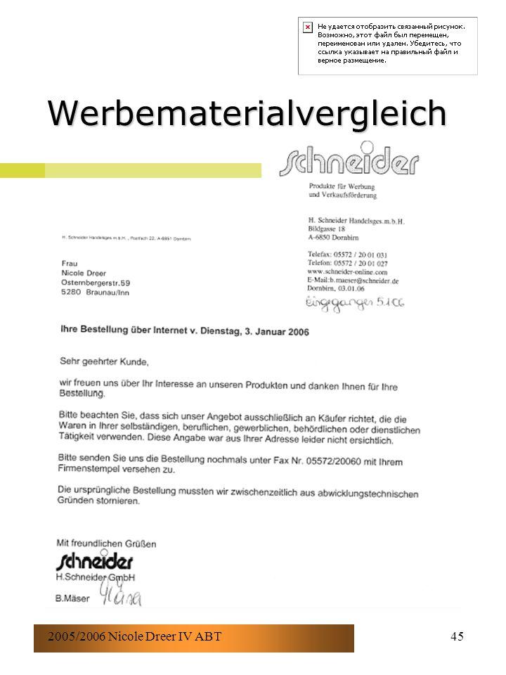2005/2006 Nicole Dreer IV ABT45 Werbematerialvergleich