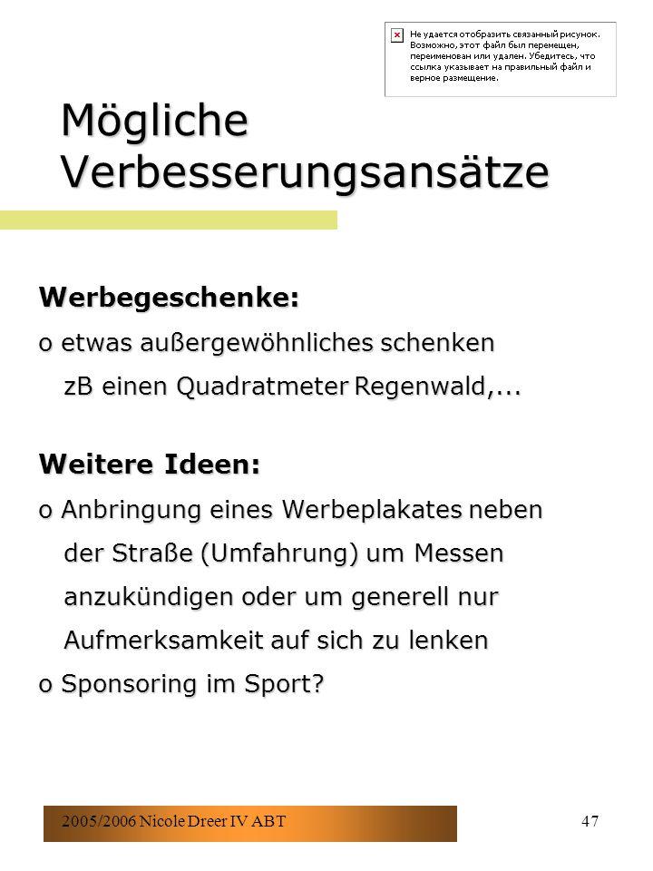 2005/2006 Nicole Dreer IV ABT47 Mögliche Verbesserungsansätze Werbegeschenke: o etwas außergewöhnliches schenken zB einen Quadratmeter Regenwald,... z