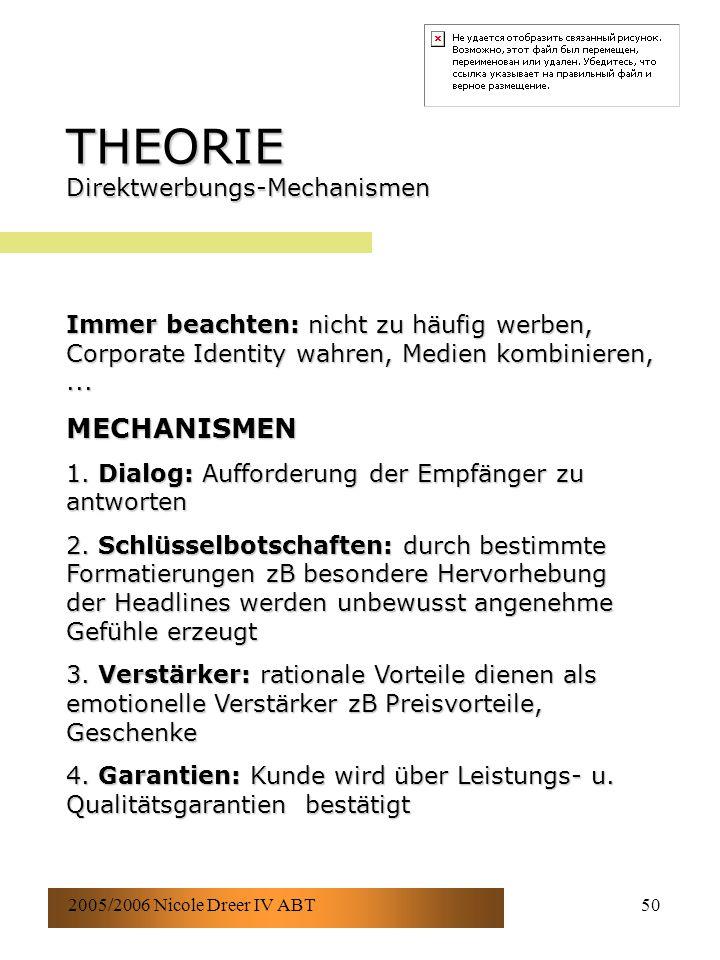 2005/2006 Nicole Dreer IV ABT50 THEORIE Direktwerbungs-Mechanismen Immer beachten: nicht zu häufig werben, Corporate Identity wahren, Medien kombinieren,...