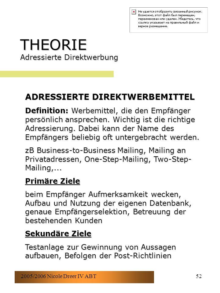 2005/2006 Nicole Dreer IV ABT52 THEORIE Adressierte Direktwerbung ADRESSIERTE DIREKTWERBEMITTEL Definition: Werbemittel, die den Empfänger persönlich ansprechen.