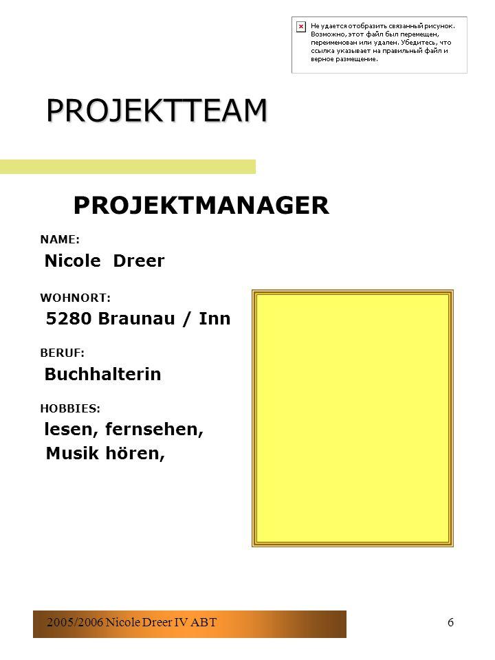 2005/2006 Nicole Dreer IV ABT6 PROJEKTTEAM NAME: Nicole Dreer WOHNORT: 5280 Braunau / Inn BERUF: Buchhalterin HOBBIES: lesen, fernsehen, Musik hören, PROJEKTMANAGER