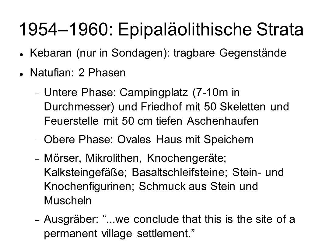 1954–1960: Epipaläolithische Strata Kebaran (nur in Sondagen): tragbare Gegenstände Natufian: 2 Phasen Untere Phase: Campingplatz (7-10m in Durchmesse
