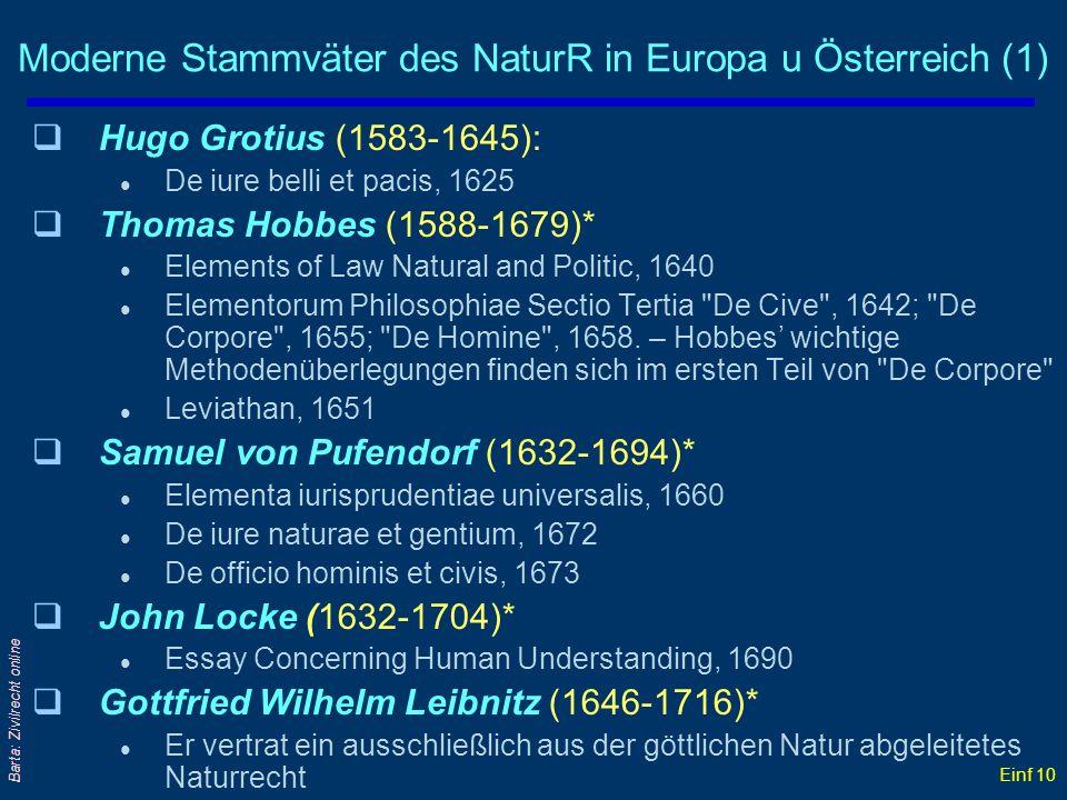 Einf 10 Barta: Zivilrecht online Moderne Stammväter des NaturR in Europa u Österreich (1) qHugo Grotius (1583-1645): l De iure belli et pacis, 1625 qT