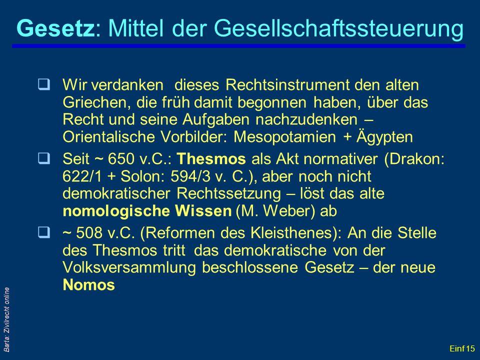 Einf 15 Barta: Zivilrecht online Gesetz: Mittel der Gesellschaftssteuerung qWir verdanken dieses Rechtsinstrument den alten Griechen, die früh damit b