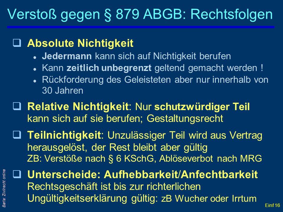 Einf 16 Barta: Zivilrecht online Verstoß gegen § 879 ABGB: Rechtsfolgen qAbsolute Nichtigkeit l Jedermann kann sich auf Nichtigkeit berufen l Kann zei