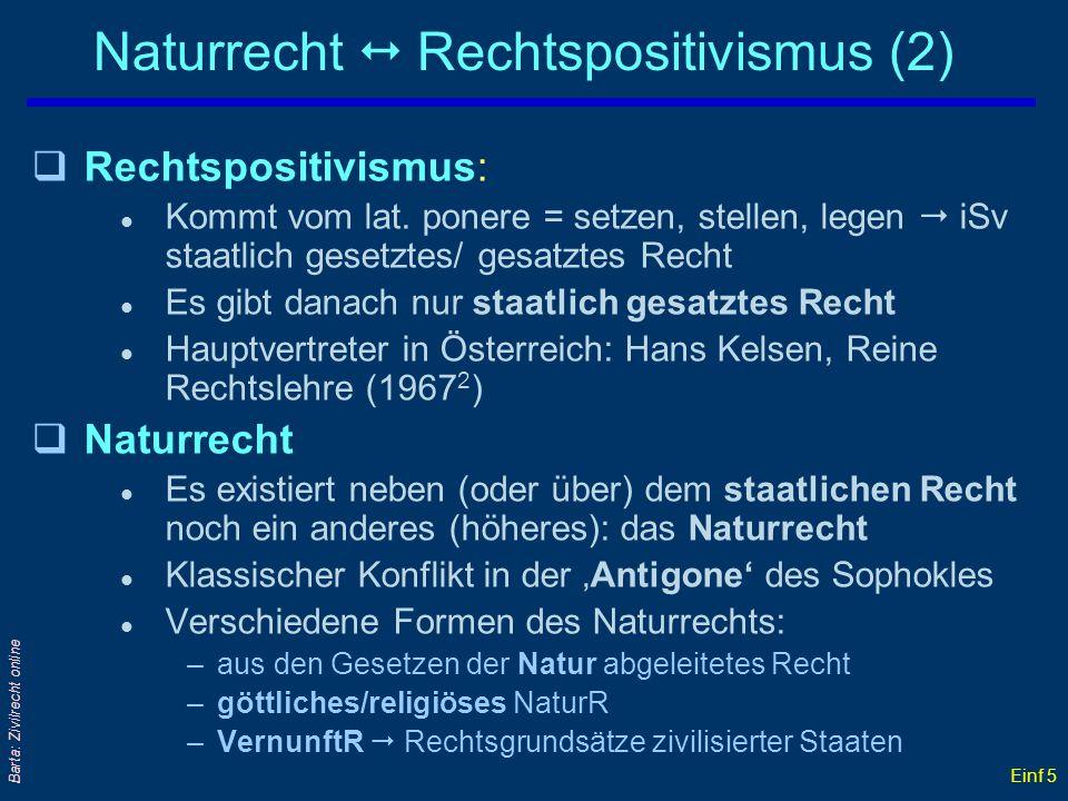 Einf 5 Barta: Zivilrecht online Naturrecht Rechtspositivismus (2) qRechtspositivismus: l Kommt vom lat. ponere = setzen, stellen, legen iSv staatlich