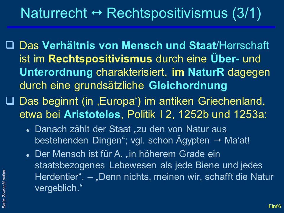 Einf 6 Barta: Zivilrecht online Naturrecht Rechtspositivismus (3/1) qDas Verhältnis von Mensch und Staat/Herrschaft ist im Rechtspositivismus durch ei