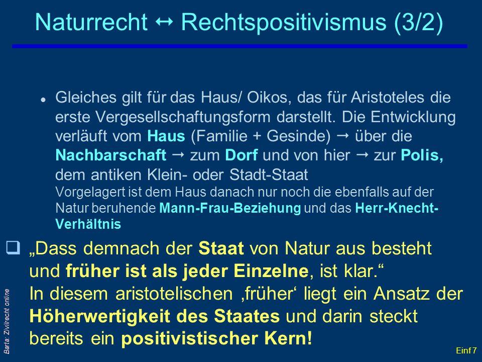 Einf 7 Barta: Zivilrecht online Naturrecht Rechtspositivismus (3/2) l Gleiches gilt für das Haus/ Oikos, das für Aristoteles die erste Vergesellschaft