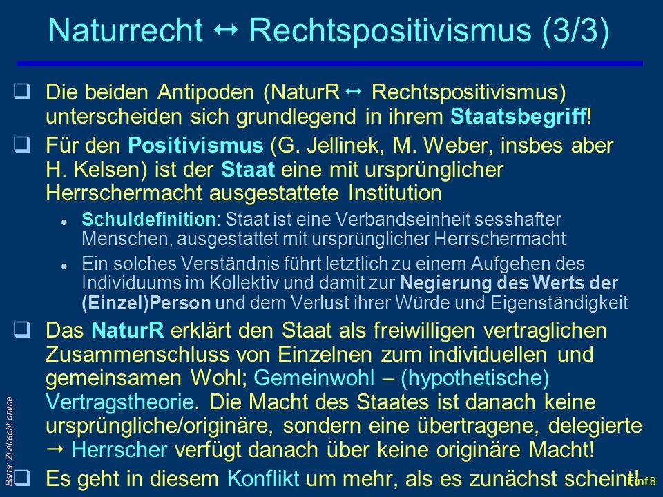 Einf 8 Barta: Zivilrecht online Naturrecht Rechtspositivismus (3/3) qDie beiden Antipoden (NaturR Rechtspositivismus) unterscheiden sich grundlegend i