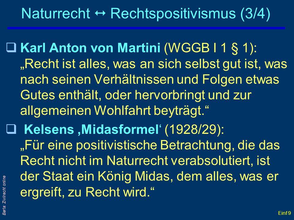 Einf 9 Barta: Zivilrecht online Naturrecht Rechtspositivismus (3/4) qKarl Anton von Martini (WGGB I 1 § 1): Recht ist alles, was an sich selbst gut is