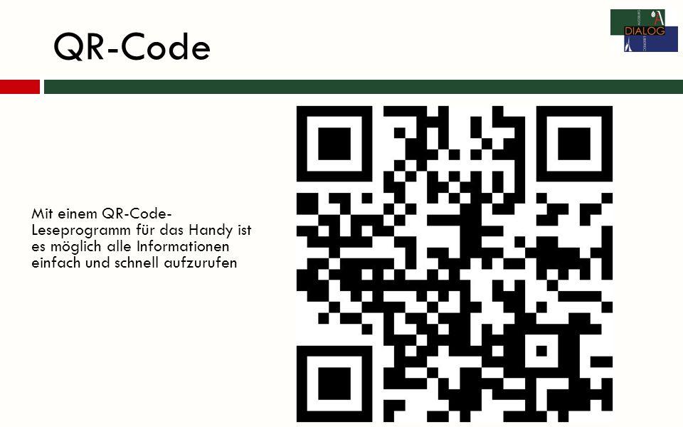 QR-Code Mit einem QR-Code- Leseprogramm für das Handy ist es möglich alle Informationen einfach und schnell aufzurufen