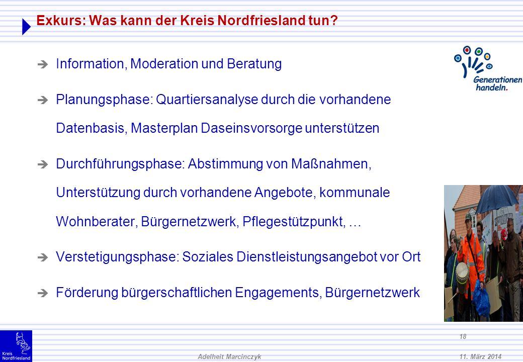 11. März 2014Adelheit Marcinczyk 17 B. Wie können quartiersbezogene Wohnkonzepte realisiert werden? : Versorgungssicherheit durch 24 h Präsenz: Eine K