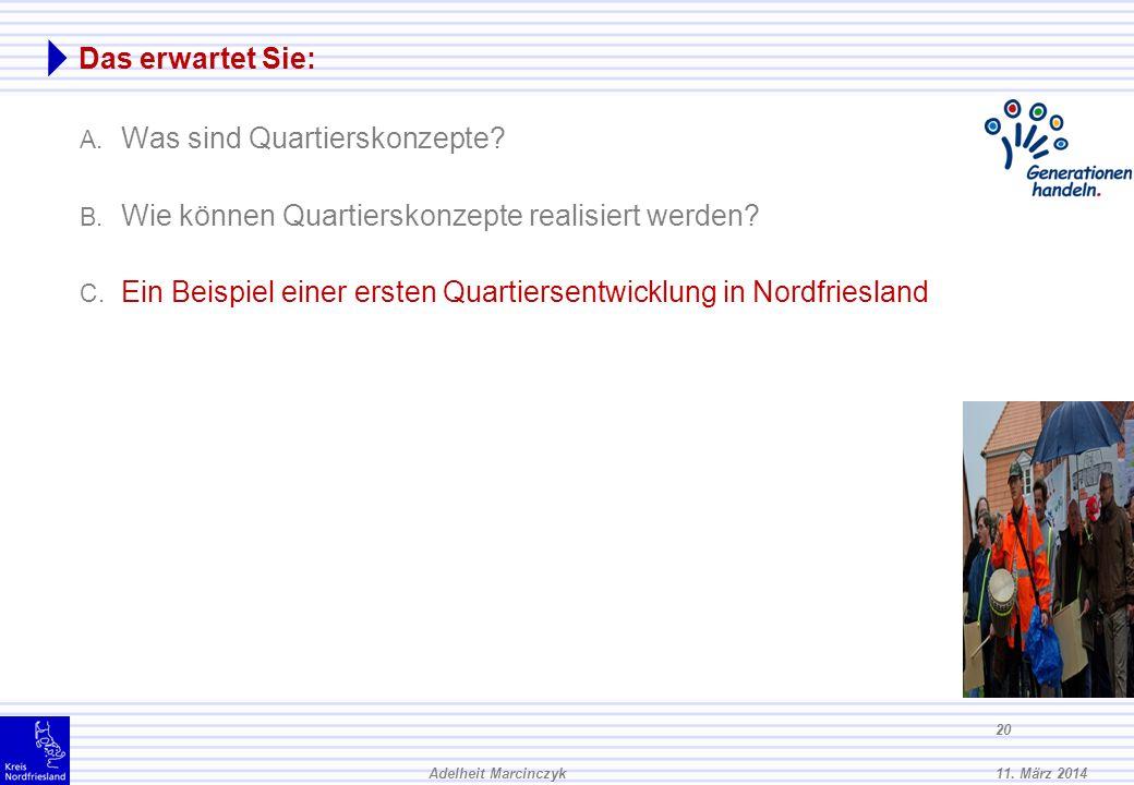 11. März 2014Adelheit Marcinczyk 19 Exkurs: Was können andere tun? Wohnungsbaugenossenschaften Ambulante und Stationäre Einrichtungen bei Neubauten od