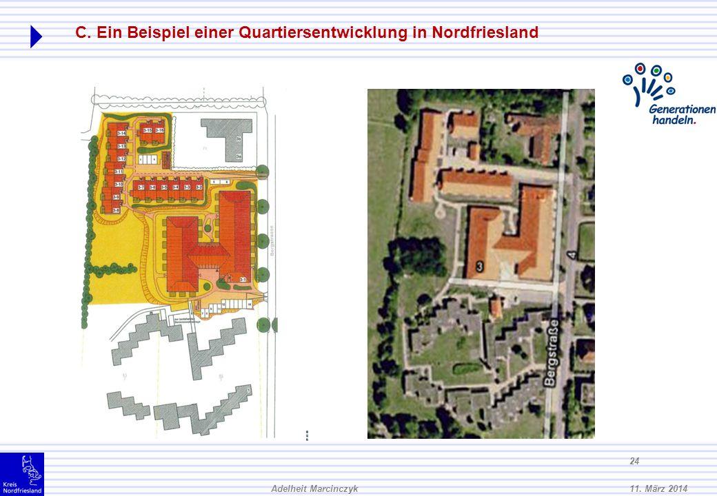 11. März 2014Adelheit Marcinczyk 23 C. Ein Beispiel einer Quartiersentwicklung in Nordfriesland Vom Grundstück in der Bergstraße bis zur Bushaltestell