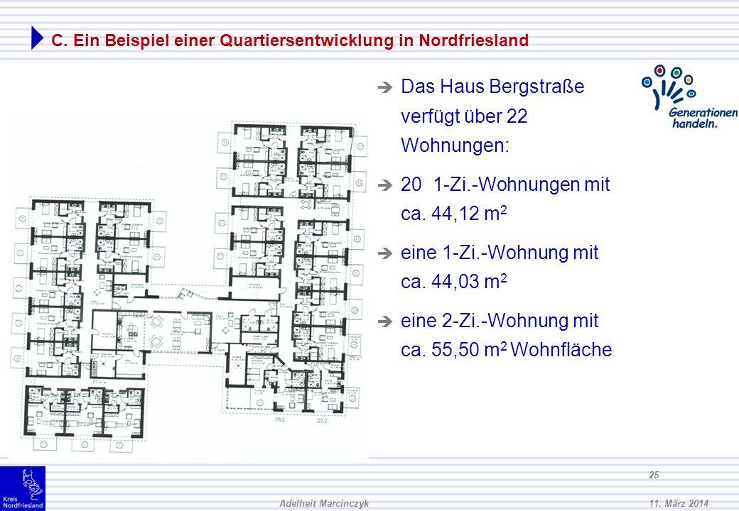 11. März 2014Adelheit Marcinczyk 24 C. Ein Beispiel einer Quartiersentwicklung in Nordfriesland