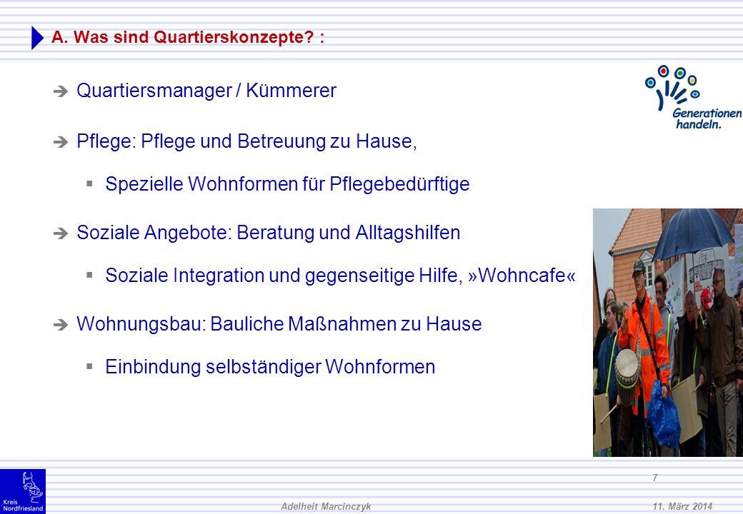 11.März 2014Adelheit Marcinczyk 17 B. Wie können quartiersbezogene Wohnkonzepte realisiert werden.