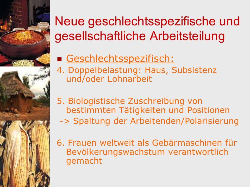 Neue geschlechtsspezifische und gesellschaftliche Arbeitsteilung Geschlechtsspezifisch: 4. Doppelbelastung: Haus, Subsistenz und/oder Lohnarbeit 5. Bi