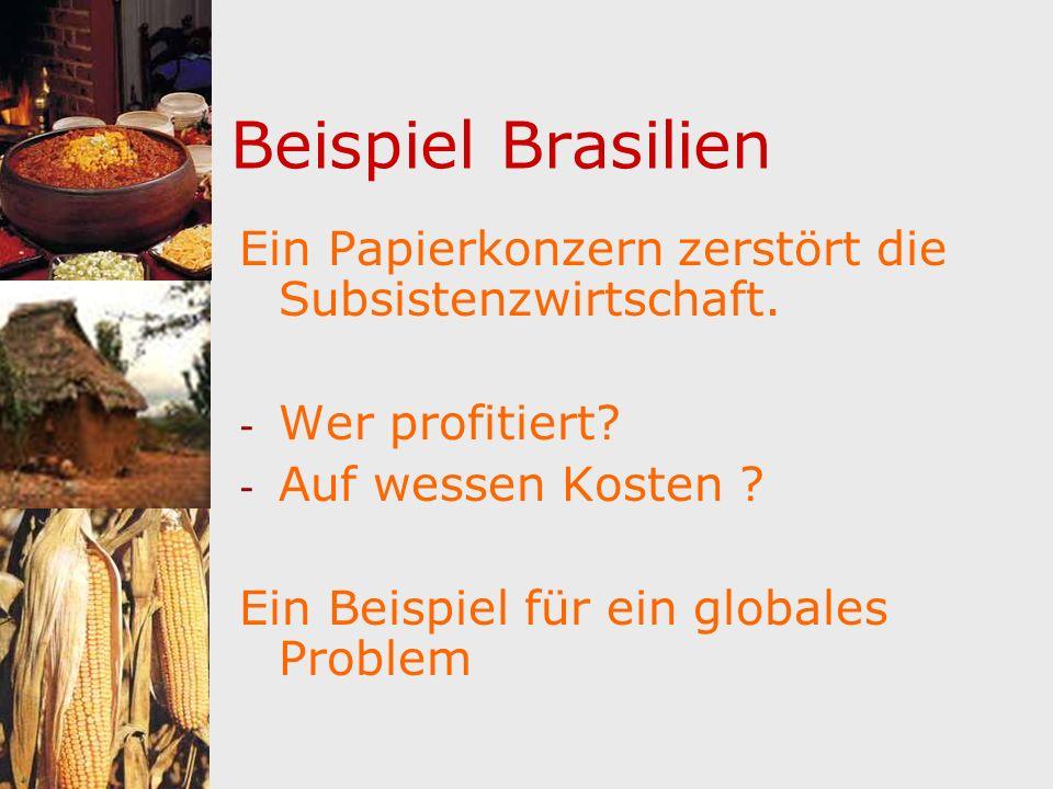 Beispiel Brasilien Ein Papierkonzern zerstört die Subsistenzwirtschaft. - Wer profitiert? - Auf wessen Kosten ? Ein Beispiel für ein globales Problem