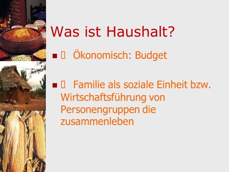 Was ist Haushalt? Ökonomisch: Budget Familie als soziale Einheit bzw. Wirtschaftsführung von Personengruppen die zusammenleben