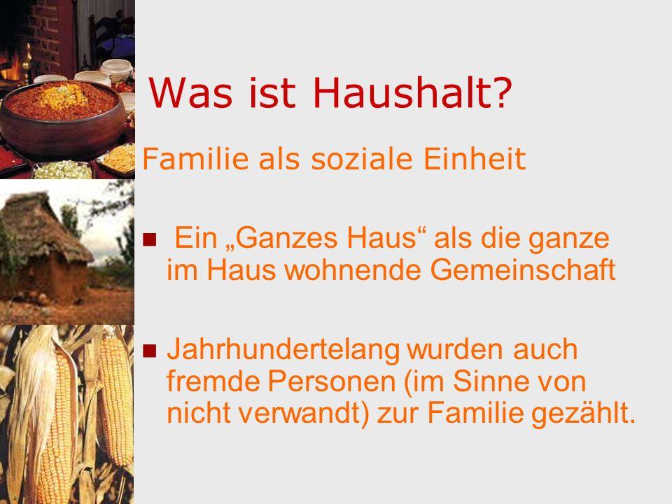Haushalt/Familie als Arbeitsgemeinschaft FRAU (Ehefrau, Mutter, Hausherrin) MANN (Ehemann, Vater, Hausherr) KINDER (je nach Familienstand) GESINDE (Magd/Knecht)