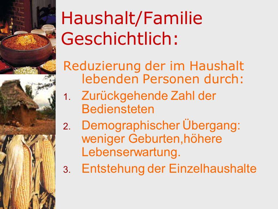 Haushalt/Familie Geschichtlich: Reduzierung der im Haushalt lebenden Personen durch: 1. Zurückgehende Zahl der Bediensteten 2. Demographischer Übergan