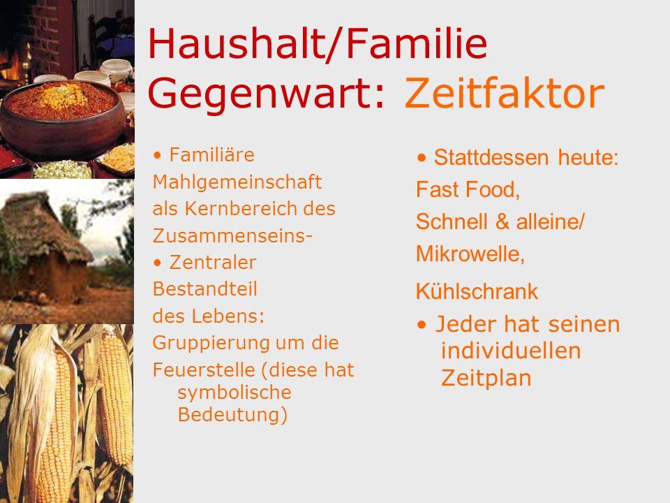 Haushalt/Familie Gegenwart: Zeitfaktor Familiäre Mahlgemeinschaft als Kernbereich des Zusammenseins- Zentraler Bestandteil des Lebens: Gruppierung um