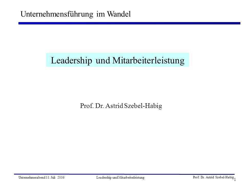 Prof. Dr. Astrid Szebel-Habig 1 Unternehmerabend 11. Juli 2006Leadership und Mitarbeiterleistung Unternehmensführung im Wandel Leadership und Mitarbei