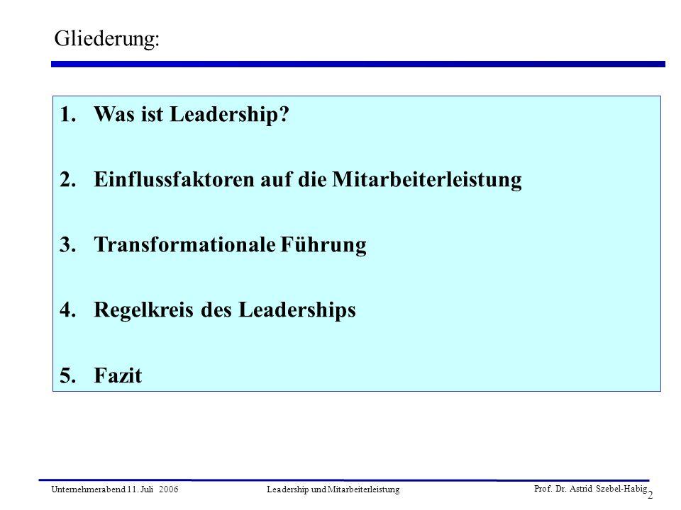 2 Unternehmerabend 11. Juli 2006Leadership und Mitarbeiterleistung Gliederung: 1.Was ist Leadership? 2.Einflussfaktoren auf die Mitarbeiterleistung 3.