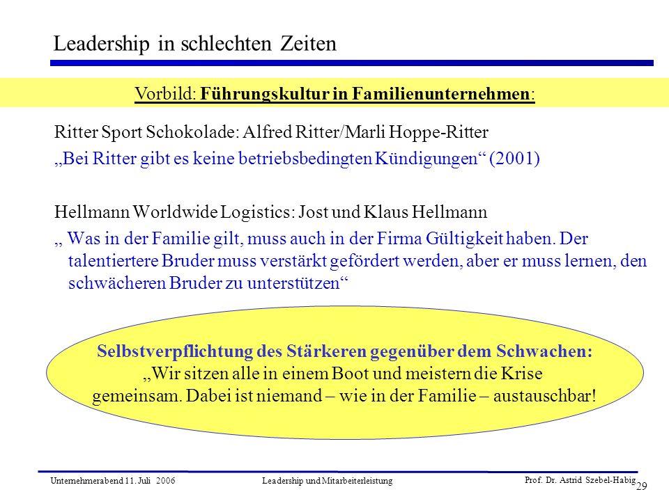 Prof. Dr. Astrid Szebel-Habig 29 Unternehmerabend 11. Juli 2006Leadership und Mitarbeiterleistung Ritter Sport Schokolade: Alfred Ritter/Marli Hoppe-R