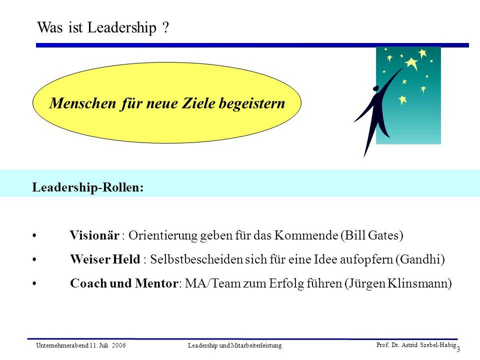 Prof. Dr. Astrid Szebel-Habig 3 Unternehmerabend 11. Juli 2006Leadership und Mitarbeiterleistung Was ist Leadership ? Leadership-Rollen: Visionär : Or