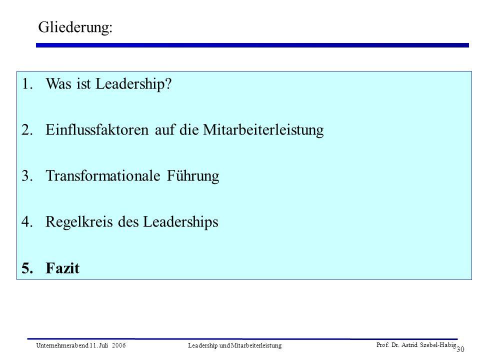Prof. Dr. Astrid Szebel-Habig 30 Unternehmerabend 11. Juli 2006Leadership und Mitarbeiterleistung Gliederung: 1.Was ist Leadership? 2.Einflussfaktoren