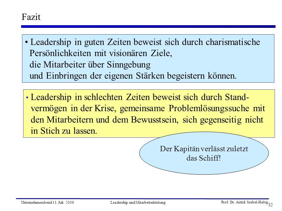 Prof. Dr. Astrid Szebel-Habig 32 Unternehmerabend 11. Juli 2006Leadership und Mitarbeiterleistung Fazit Leadership in guten Zeiten beweist sich durch