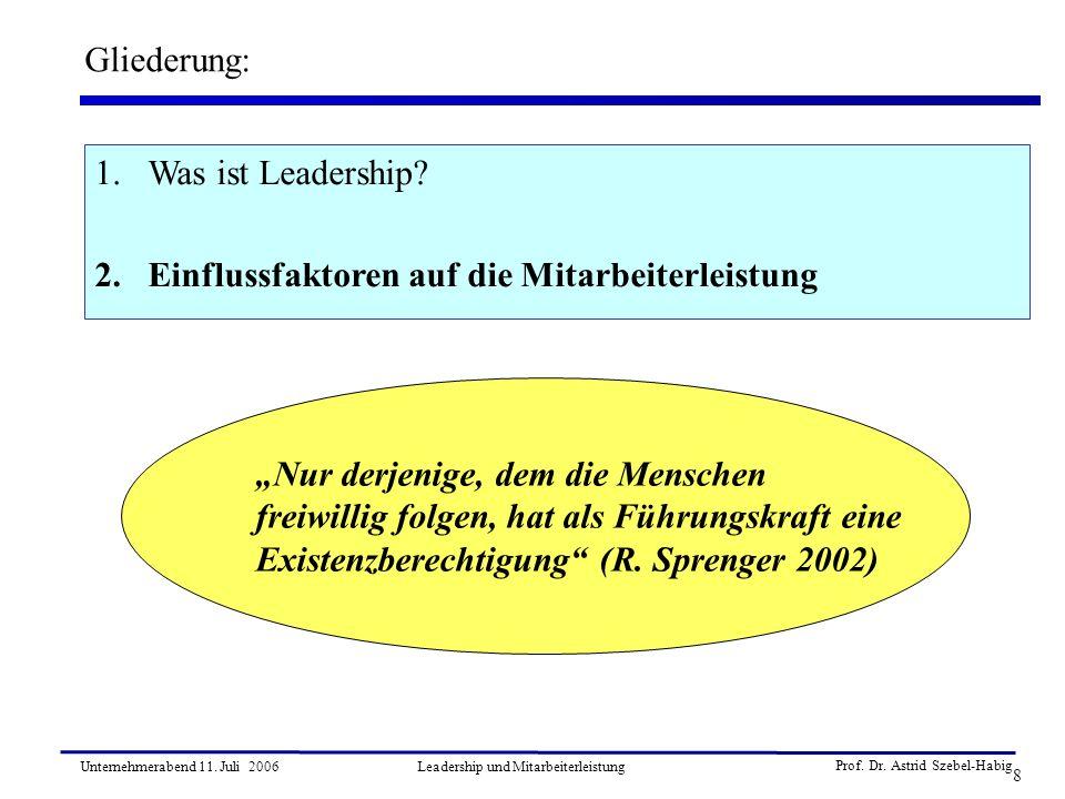 Prof. Dr. Astrid Szebel-Habig 8 Unternehmerabend 11. Juli 2006Leadership und Mitarbeiterleistung Gliederung: 1.Was ist Leadership? 2.Einflussfaktoren