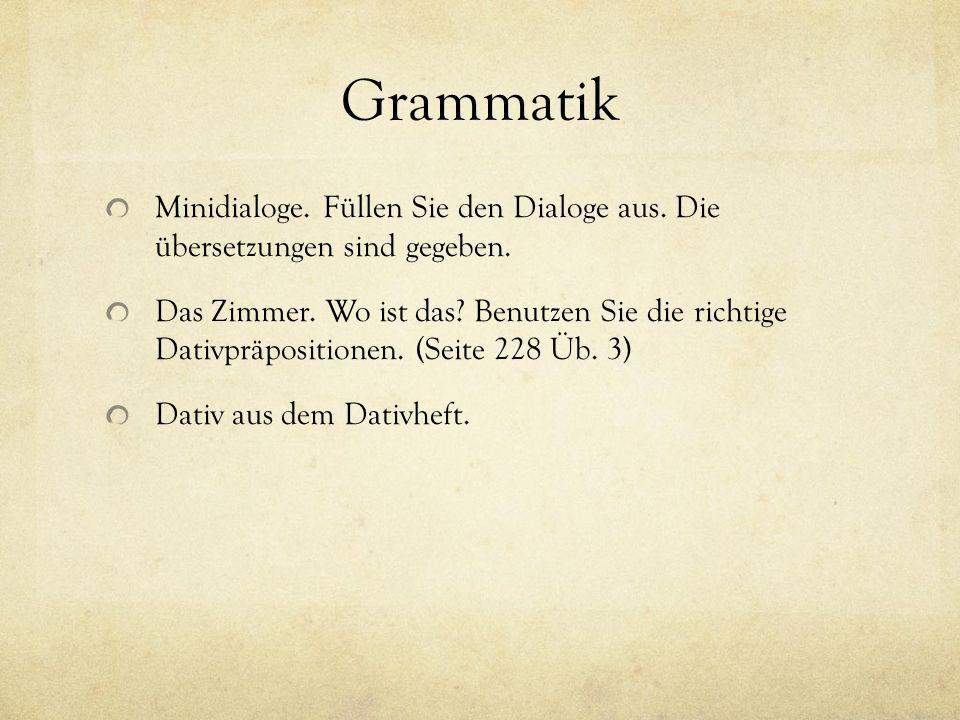 Grammatik Wohin gehen oder fahren die folgenden Personen.
