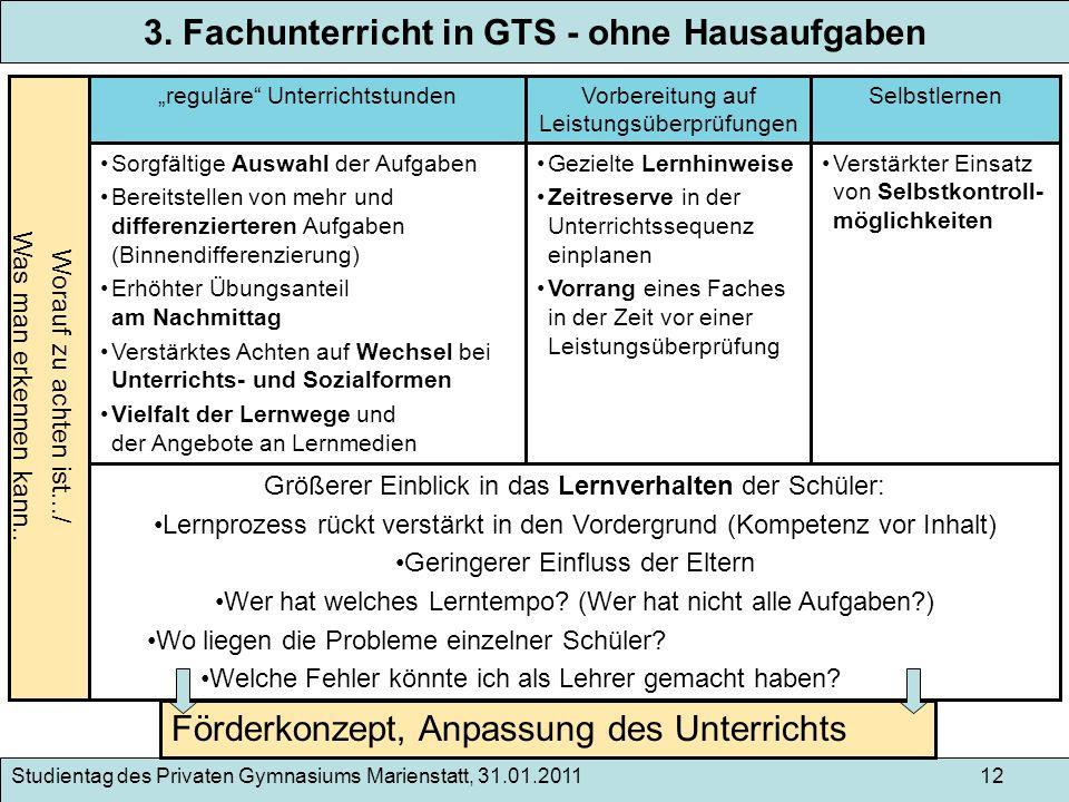 Studientag des Privaten Gymnasiums Marienstatt, 31.01.2011 12 3. Fachunterricht in GTS - ohne Hausaufgaben Worauf zu achten ist.../ Was man erkennen k
