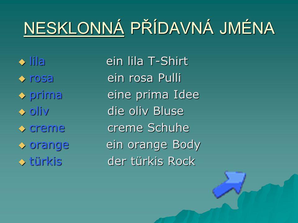 NESKLONNÁ PŘÍDAVNÁ JMÉNA lila ein lila T-Shirt lila ein lila T-Shirt rosaein rosa Pulli rosaein rosa Pulli primaeine prima Idee primaeine prima Idee olivdie oliv Bluse olivdie oliv Bluse cremecreme Schuhe cremecreme Schuhe orange ein orange Body orange ein orange Body türkisder türkis Rock türkisder türkis Rock