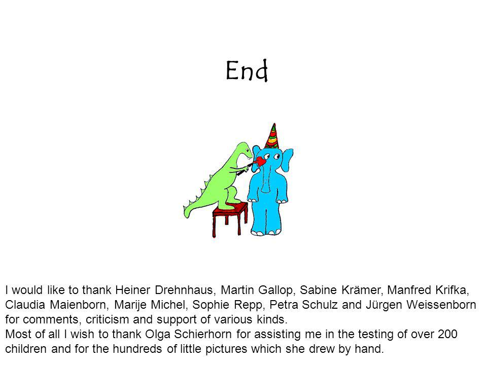 End I would like to thank Heiner Drehnhaus, Martin Gallop, Sabine Krämer, Manfred Krifka, Claudia Maienborn, Marije Michel, Sophie Repp, Petra Schulz and Jürgen Weissenborn for comments, criticism and support of various kinds.