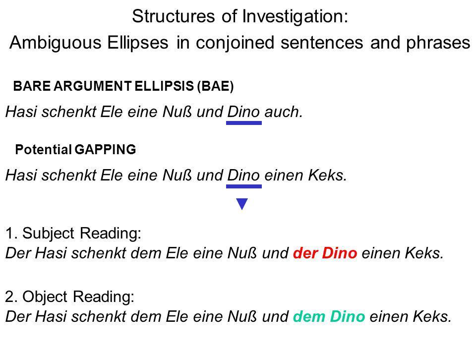 Structures of Investigation: Ambiguous Ellipses in conjoined sentences and phrases Hasi schenkt Ele eine Nuß und Dino einen Keks. 1. Subject Reading: