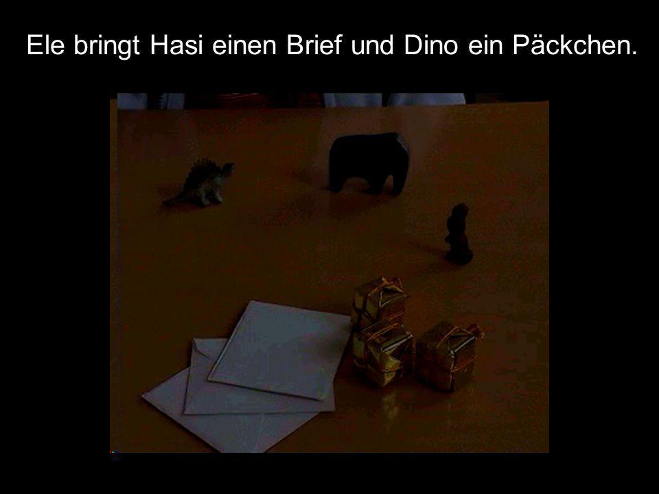 Ele bringt Hasi einen Brief und Dino ein Päckchen.
