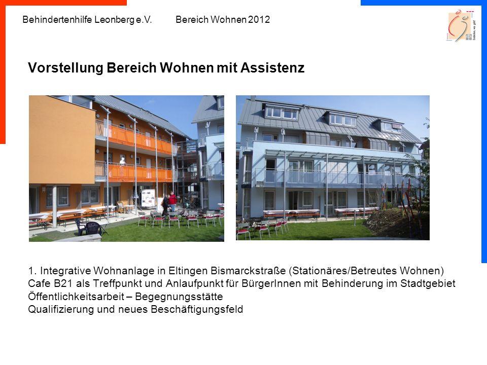 Behindertenhilfe Leonberg e.V. Bereich Wohnen 2012 Vorstellung Bereich Wohnen mit Assistenz 1. Integrative Wohnanlage in Eltingen Bismarckstraße (Stat