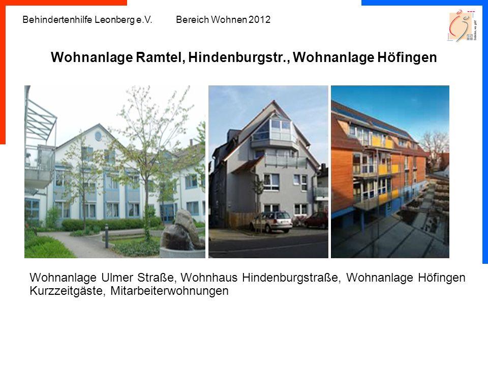 Behindertenhilfe Leonberg e.V. Bereich Wohnen 2012 Wohnanlage Ramtel, Hindenburgstr., Wohnanlage Höfingen Wohnanlage Ulmer Straße, Wohnhaus Hindenburg