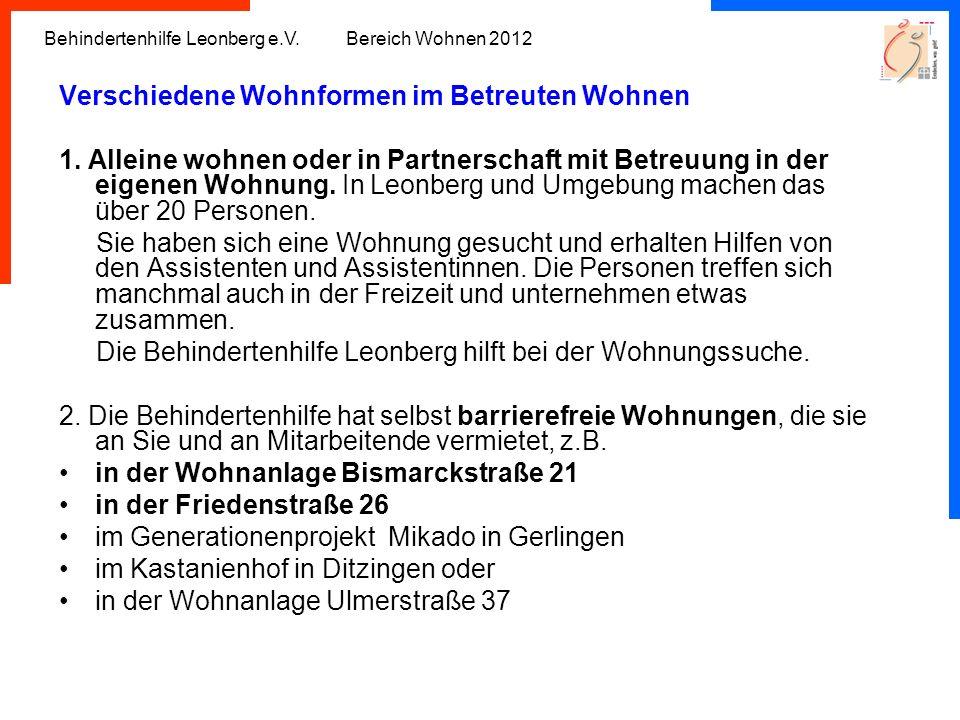 Behindertenhilfe Leonberg e.V. Bereich Wohnen 2012 Verschiedene Wohnformen im Betreuten Wohnen 1. Alleine wohnen oder in Partnerschaft mit Betreuung i