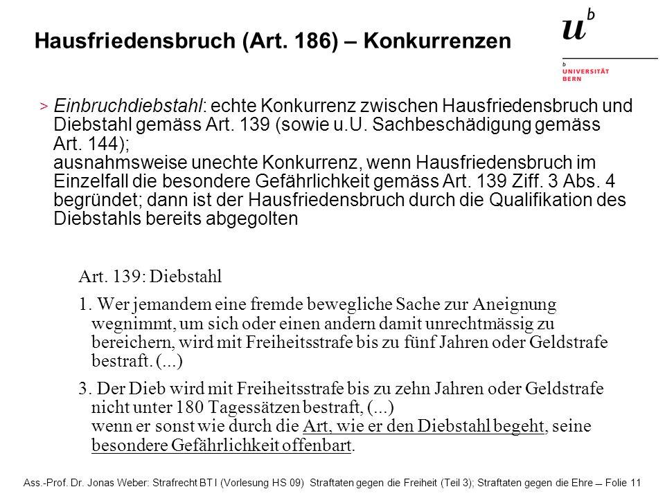 Ass.-Prof. Dr. Jonas Weber: Strafrecht BT I (Vorlesung HS 09) Straftaten gegen die Freiheit (Teil 3); Straftaten gegen die Ehre Folie 11 Hausfriedensb