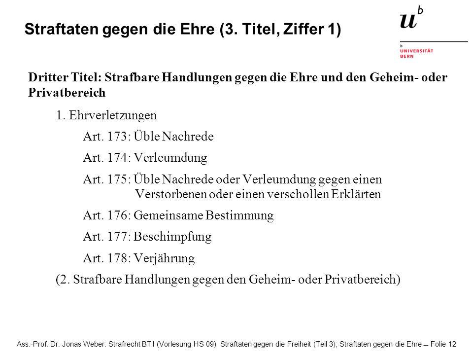 Ass.-Prof. Dr. Jonas Weber: Strafrecht BT I (Vorlesung HS 09) Straftaten gegen die Freiheit (Teil 3); Straftaten gegen die Ehre Folie 12 Straftaten ge
