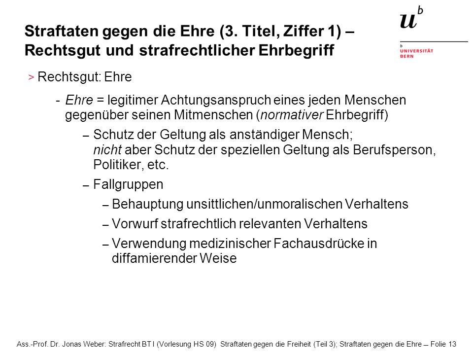 Ass.-Prof. Dr. Jonas Weber: Strafrecht BT I (Vorlesung HS 09) Straftaten gegen die Freiheit (Teil 3); Straftaten gegen die Ehre Folie 13 Straftaten ge