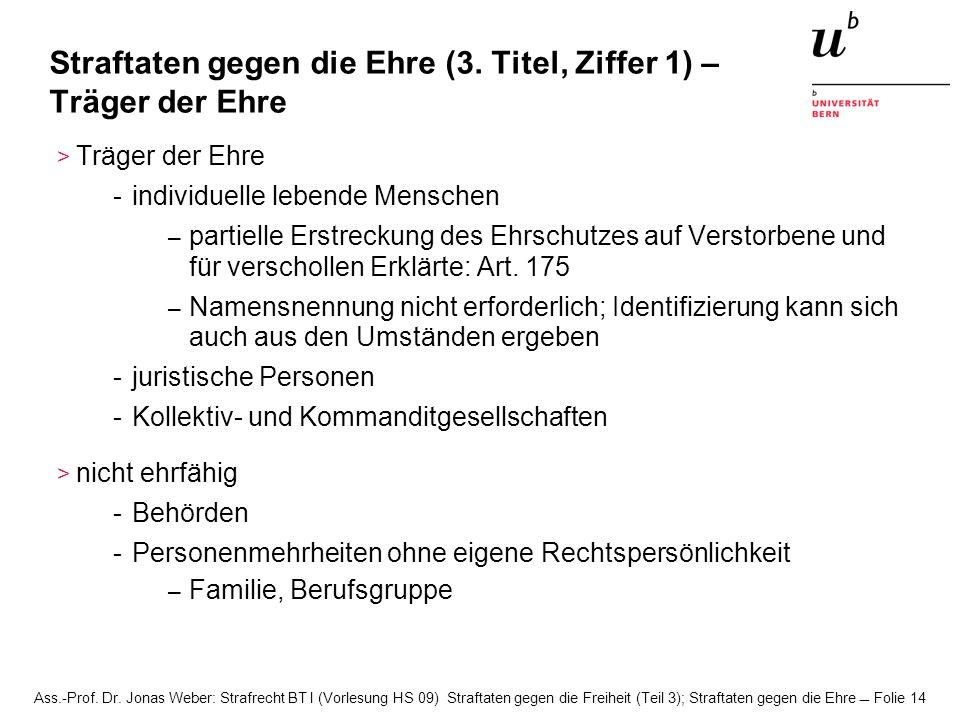 Ass.-Prof. Dr. Jonas Weber: Strafrecht BT I (Vorlesung HS 09) Straftaten gegen die Freiheit (Teil 3); Straftaten gegen die Ehre Folie 14 Straftaten ge